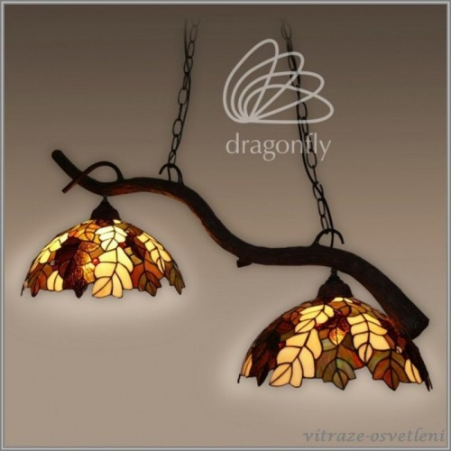 Závěsné vitrážové svítidlo List dubu P161420-2 (Kando)