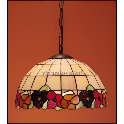 Vitrážový lustr Sasanka 30, 1x E27