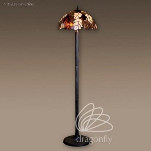 Vitrážová stojanová lampa F181420 List dubu, (Kando) 2 x E27, max 60W