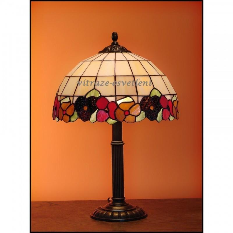 Tiffany stolní vitrážová lampa Sasanka - S30