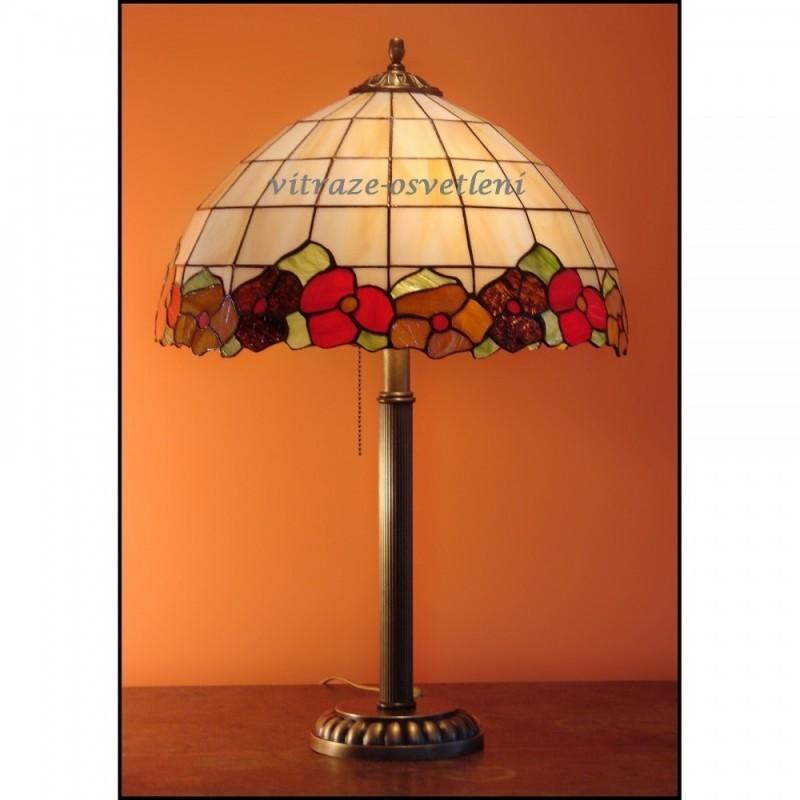 Tiffany stolní vitrážová lampa Sasanka- S40