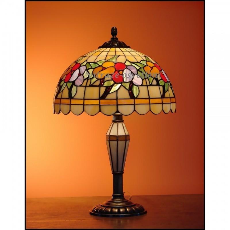 Vitrážová stolní lampa Macešky 30-SV Ø30