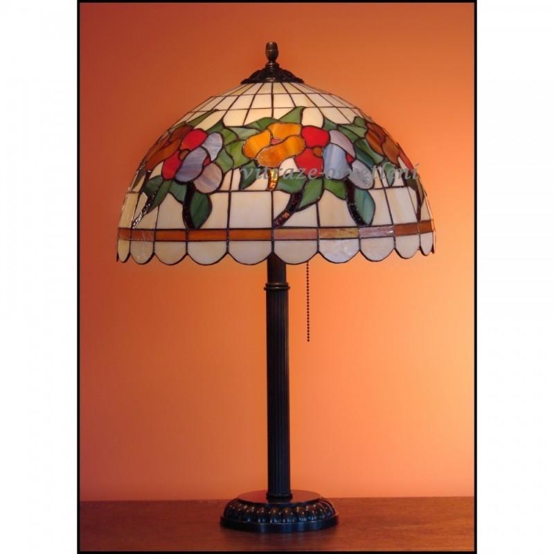 Vitrážová stolní lampa Macešky 40-S Ø40
