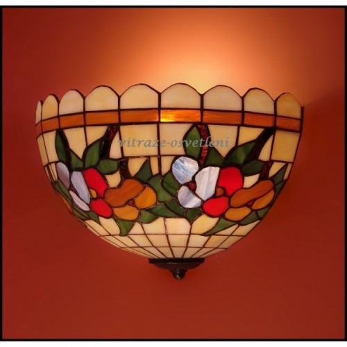 Vitrážová nástěnná lampa Macešky 30-N