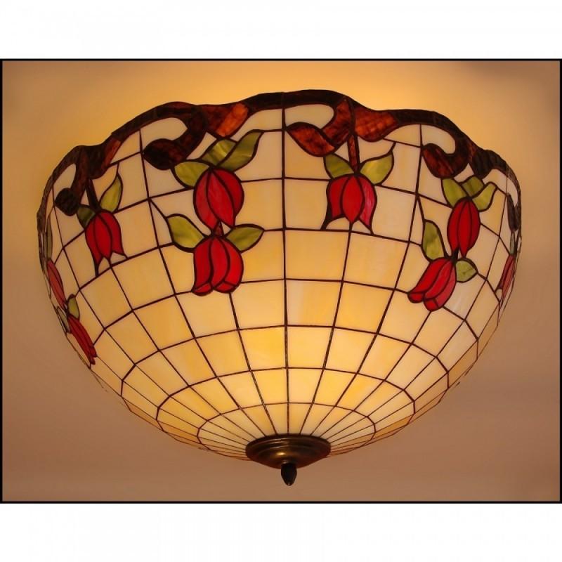 Vitrážový stropní lustr Růže 50, Ø50