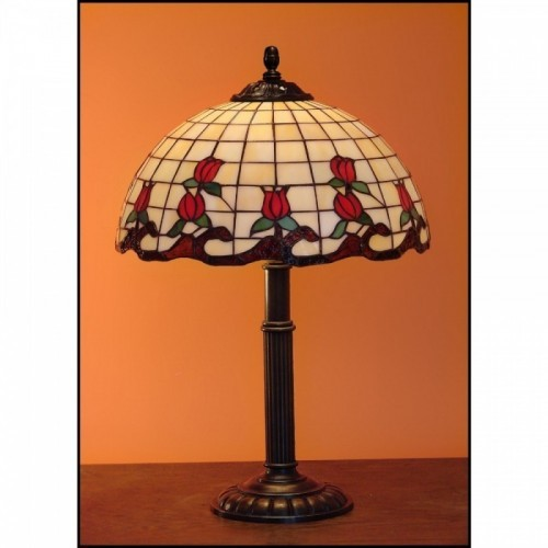 Vitrážový stolní lampa Růže 30-S, Ø30