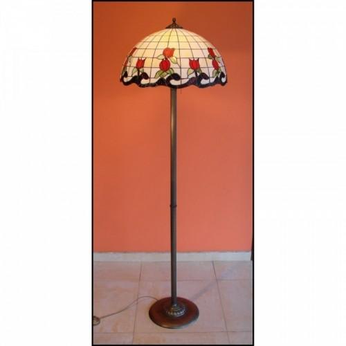 Vitrážová stojanová lampa Růže 50-ST, Ø50
