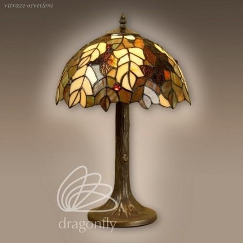 Vitrážová stolní lampa G121420 List dubu (Kando)