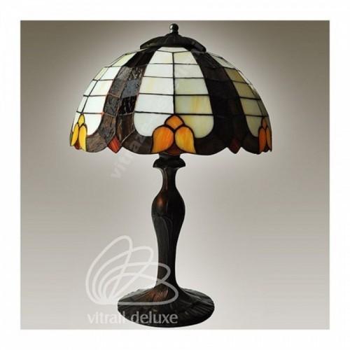 Vitrážová stolní lampa G222332 Jugendstil Ø30 (Kando)