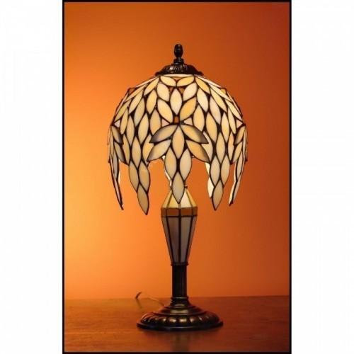 Vitrážová stolní lampa Kokos 22, vitrážová noha