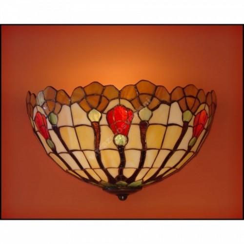 Vitrážová nástěnná lampa Fuksja 30