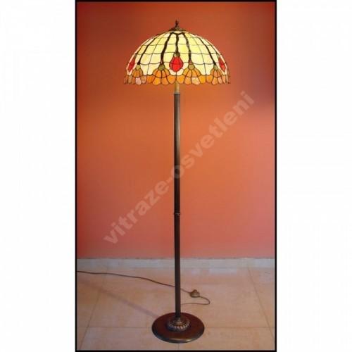 Vitrážová stojací lampa Fuksja 50, Ø50 - 160 cm
