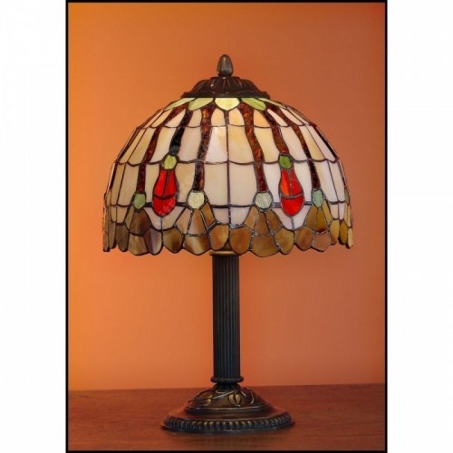 Vitrážová stolní lampa Flor 23, Ø23 - 34 cm