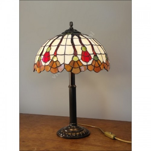 Vitrážová stolní lampa Flor 30, Ø30 - 48 cm