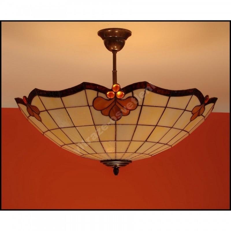 Vitrážový stropní lustr Retro 54, Ø54