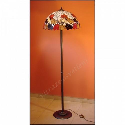 Vitrážová stojanová lampa List Kaštanu Ø50