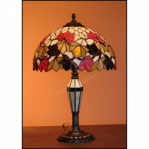 Vitrážová stolní lampa List Kaštanu Ø30 s vitrážovou nohou