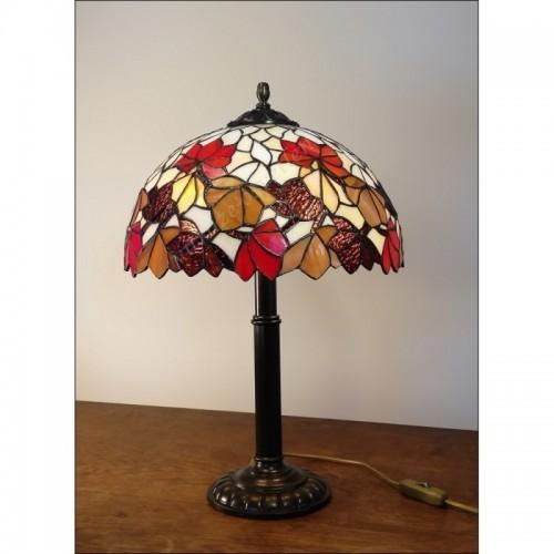 Vitrážová stolní lampa List Kaštanu Ø30