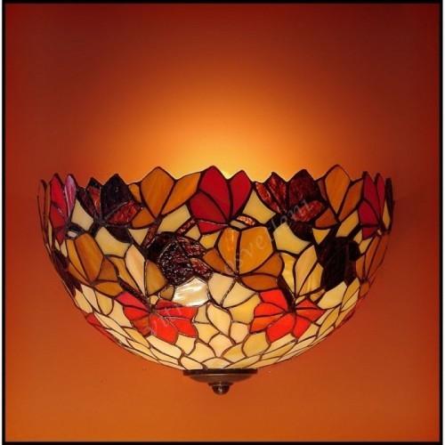 Vitrážová nástěnná lampa list Kaštanu 30