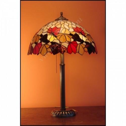 Vitrážová stolní lampa List Kaštanu Ø40