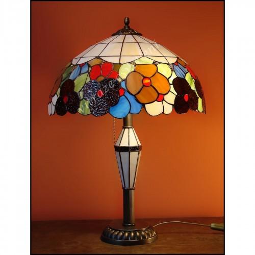 Vitrážová stolní lampa Bratki Azur SV40
