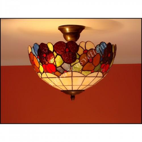 Vitrážový stropní lustr Bratki Azur 30, Ø30