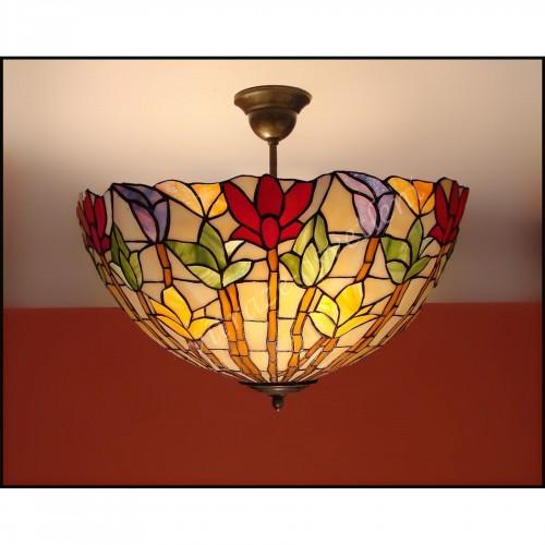 Vitrážový stropní lustr Lotos 40
