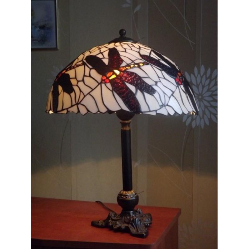 Vitrážová stolní lampa Vážky 42