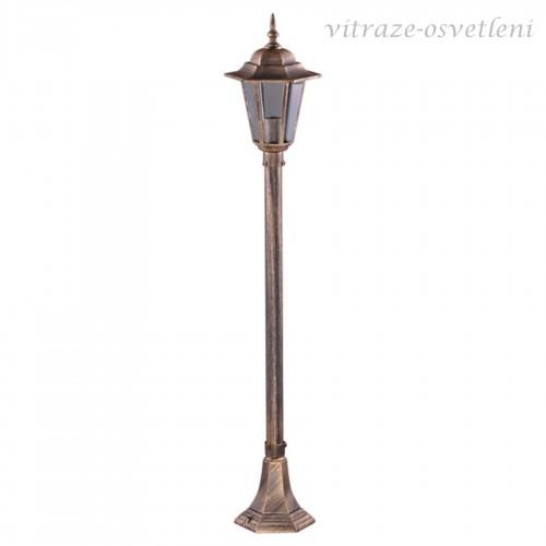 Venkovní stojanová lampa 16009BS, v.112 cm, 1xE27/60W, černá a černo-zlatá