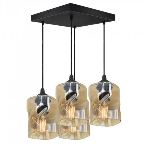 Moderní závěsný, stropní lustr LUX820-AXZ4, skleněná stínidla