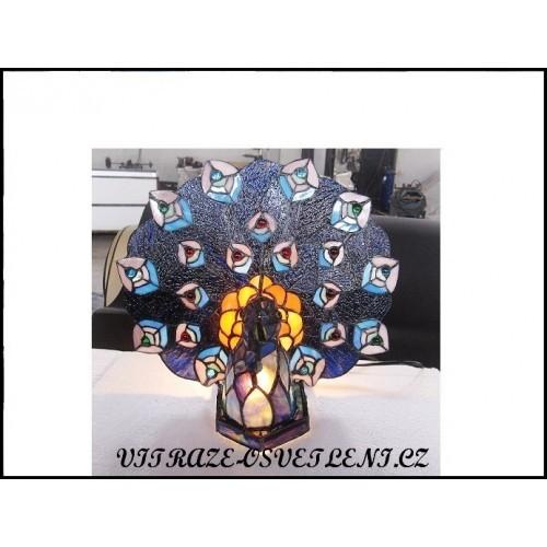 Stolní lampa Tiffany páv P1
