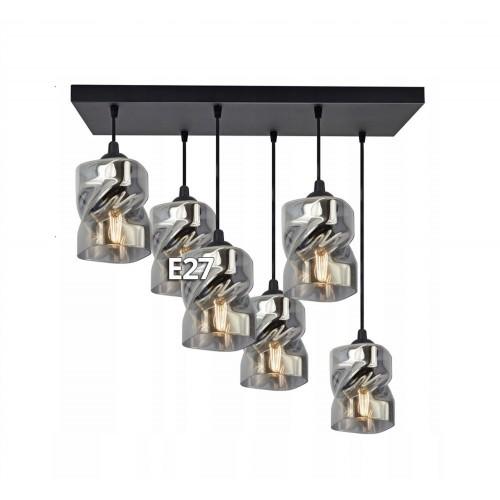 Moderní závěsný, stropní lustr LUX860-AXZ6, skleněná stínidla